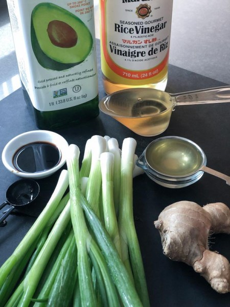 Ginger Scallion Sauce ingredients on a cutting board