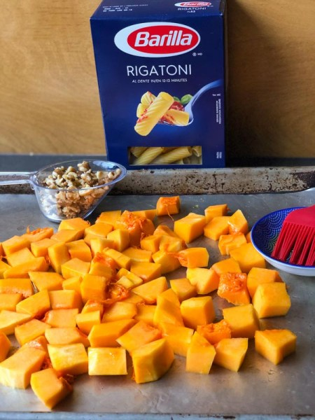 Roasted Butternut Squash Pasta ingredients on baking pan.