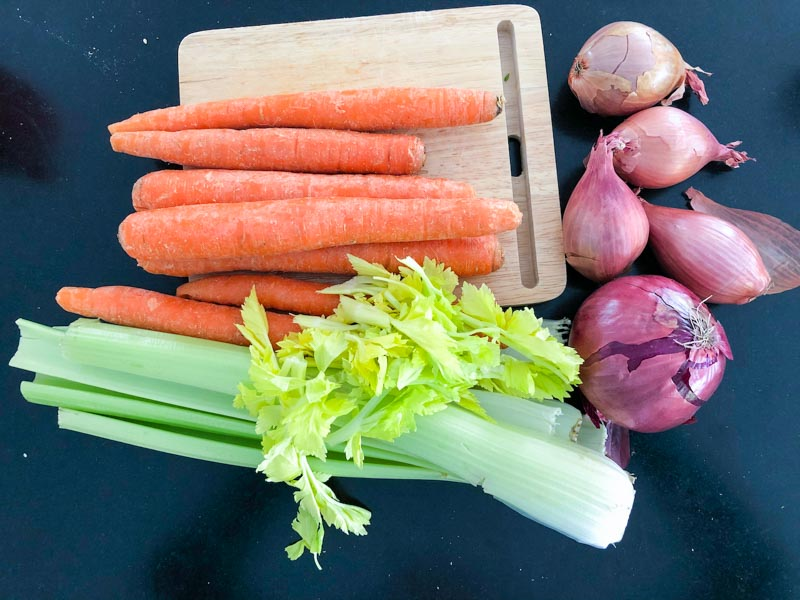 vegetables for green split pea soup on counter top
