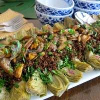 "Baby Artichoke and Mushroom on Kaniwa - aka ""Baby Quinoa"""