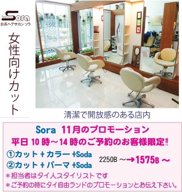 安心の日系美容室「Sora」今月のプロモーション