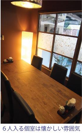 6人入るテーブルの個室