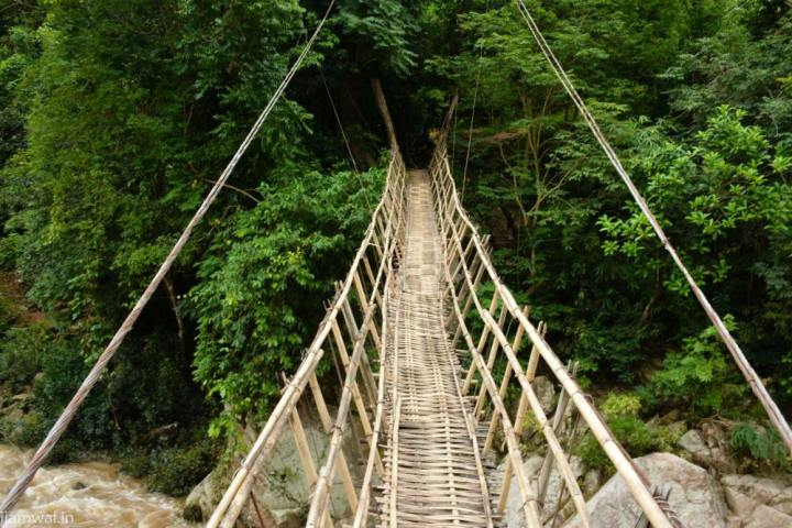 Bamboo bridge on Pelga falls