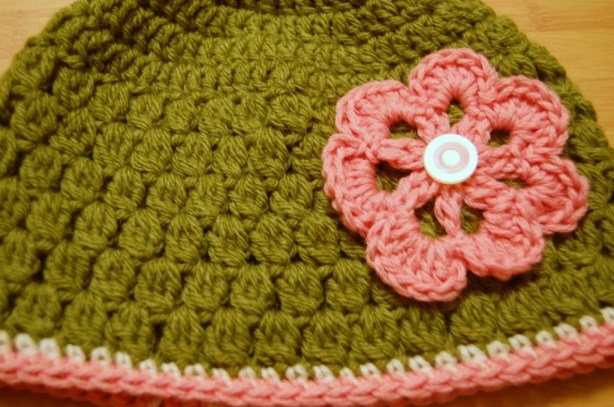 Green, Pink, and White Crochet Hat with Flower
