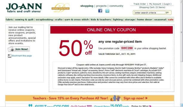 Jo-Ann Fabrics Printable Online Coupon