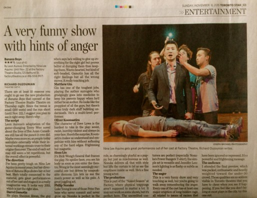 Oliver Koomsatira Review Toronto Star Richard Ouzounian Banana Boys Factory Theatre Role Dave Lowe