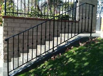 Ornamental Wrought Iron Stair Railing Balcony Handrails Los   Installing Wrought Iron Railings On Stairs   Railing Kits   Concrete Steps   Iron Balusters   Outdoor Stair   Stair Spindles