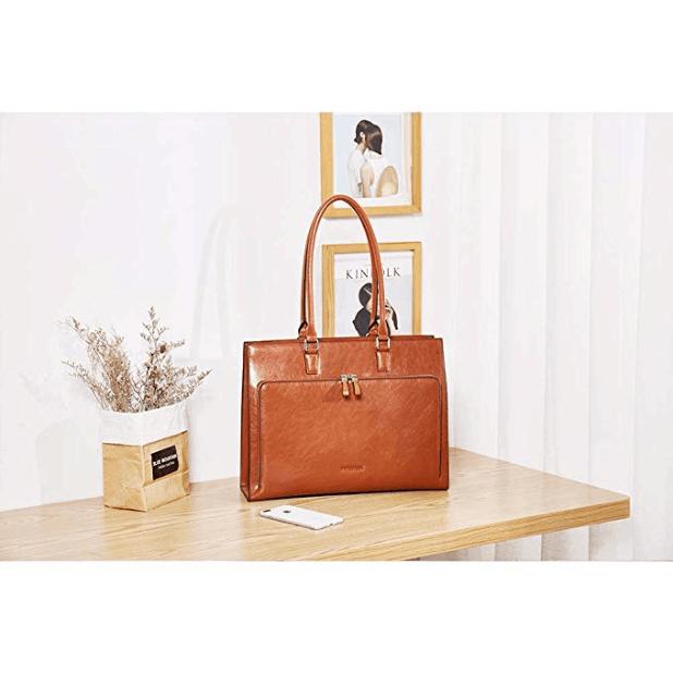 BOSTANTEN leather briefcase women hand/shoulder bag (brown)