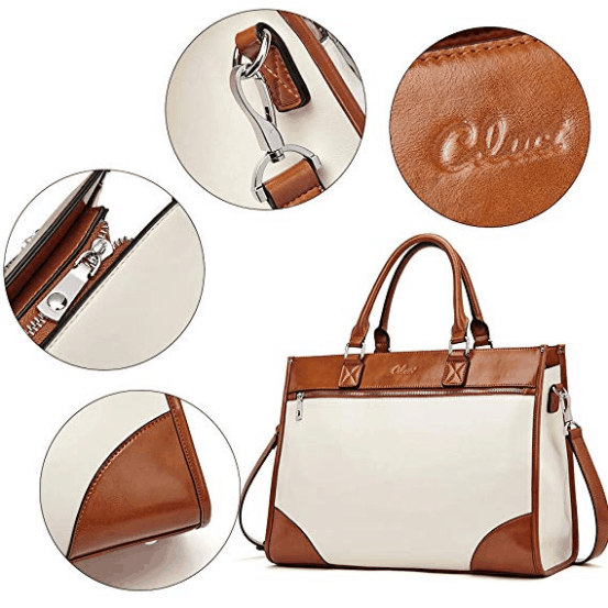 reinforced stitching of handles, sturdy silver-tone hardware, smooth metal zippers