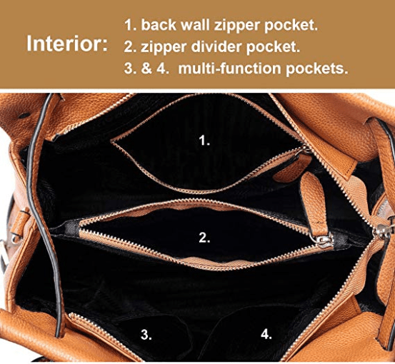 Interior with 2 x multi-function pockets, 1x zippered divider, 1 x back wall zipper pocket