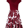 MISSKY Women's Cross Neckline A-line Floral Party Dress(front side)