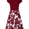 MISSKY Women's Cross Neckline A-line Floral Party Dress(backside)
