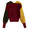ZAFUL Women's Criss Cross Colour Block Twisted Pullover Crop Knitted Jumper Sweatshirt (yellow)