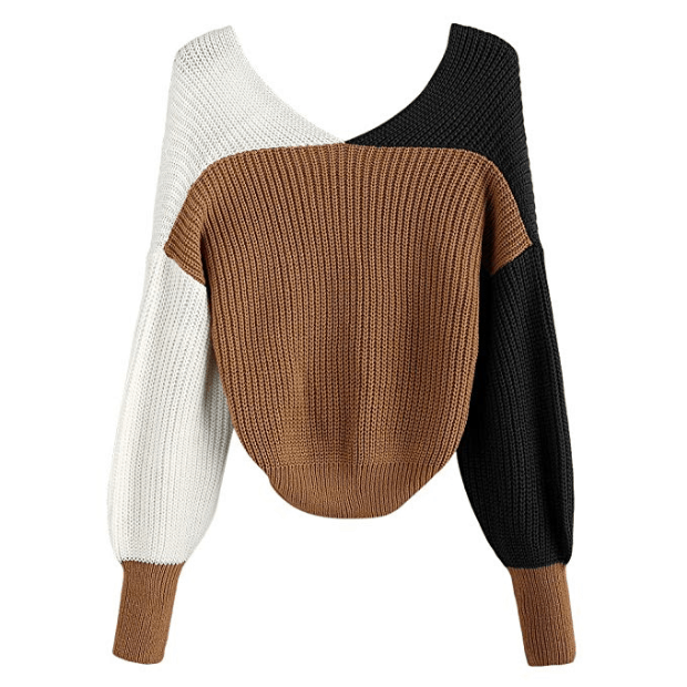 ZAFUL Women's Criss Cross Colour Block Twisted Pullover Crop Knitted Jumper Jumper Sweatshirt (green)