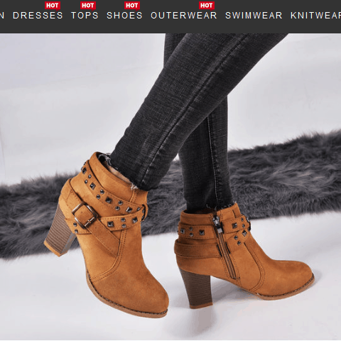 Image_Berrylook_casual_beld_buckle_heel_boots_light_brown_sidelook