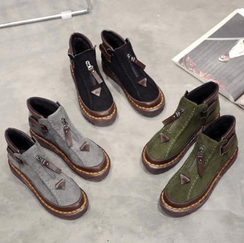 Berrylook – Color Block Flat Velvet Round Toe Casual Outdoor Short Flat Boots