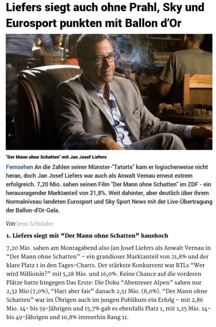 """Der am 12. Januar ausgestrahlte Vernau-Krimi """"Der Mann ohne Schatten"""" wird ein Quotenerfolg. Quelle: meedia.de"""