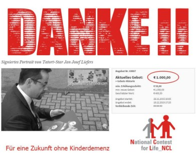 Am 18. Dezember ist unsere Versteigerung für die NCL-Stiftung ausgelaufen. Unglaubliche 1000 € hat das Bild eingebracht! DANKE an den Spender!!
