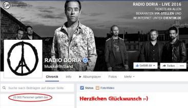 Einen Monat vor der Märztournee können wir Radio Doria zu 20.000 Followern auf FB gratulieren :-)