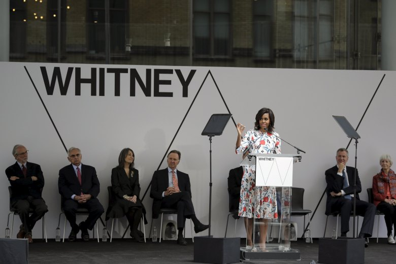 U.S. first lady Obama speaks to guests during the Whitney Museum of American Art Dedication Ceremony in New York
