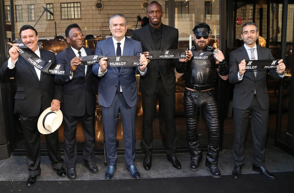 Carlito Fuente, Pelé, Ricardo Guadalupe (CEO of Hublot), Usain Bolt, Peter Marino and Jean-François Sberro (General Manager of Hublot America) at Hublot 5th Avenue (NYC) Boutique