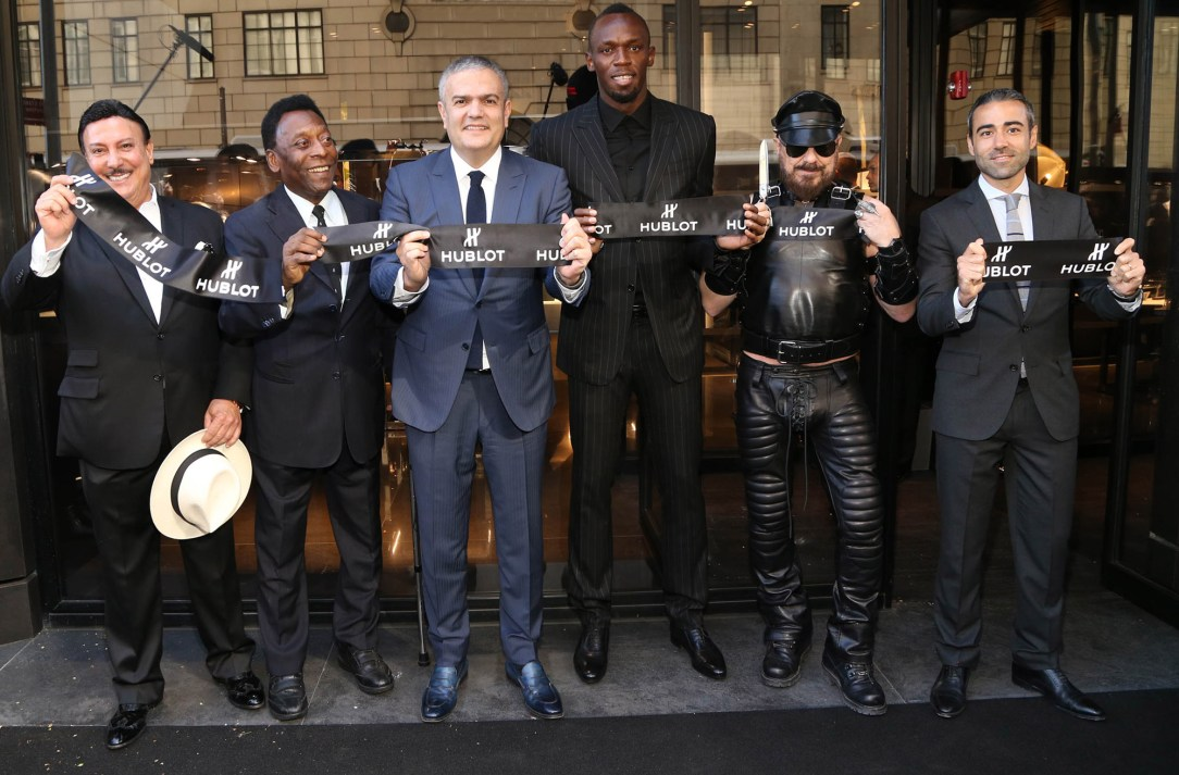Carlito Fuente, Pelé, Ricardo Guadalupe (CEO of Hublot), Usain Bolt, Peter Marino and Jean-François Sberro (General Manager of Hublot America) at Hublot 5th Avenue (NYC) Boutique