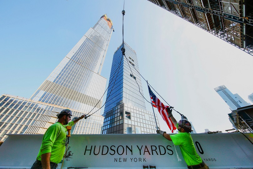30 Hudson Yards Topping Out - July 2018 - Prep for Lift with 35 HY and 55 HY in Background - courtesy of Related-Oxford