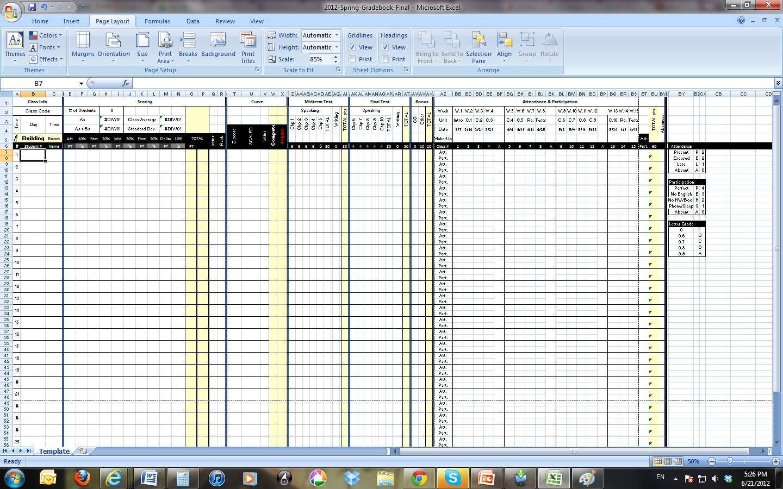 Gradebook Worksheet Template