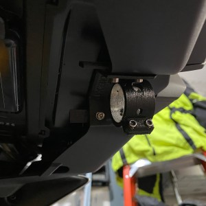 Mounted camera mount, you can see the inner nut holder tabs sticking out the back of the nose bodywork ready for the camera