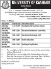 University of Kashmir Date Sheet For B.Ed
