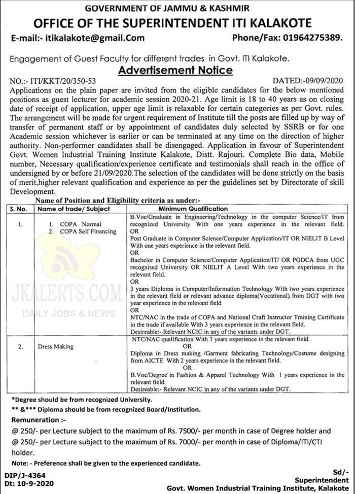 J&K Govt ITI Kalakote Jobs Recruitment.