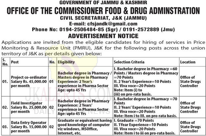J&K Commissioner Food and Drug Administration Jobs Recruitment 2020.