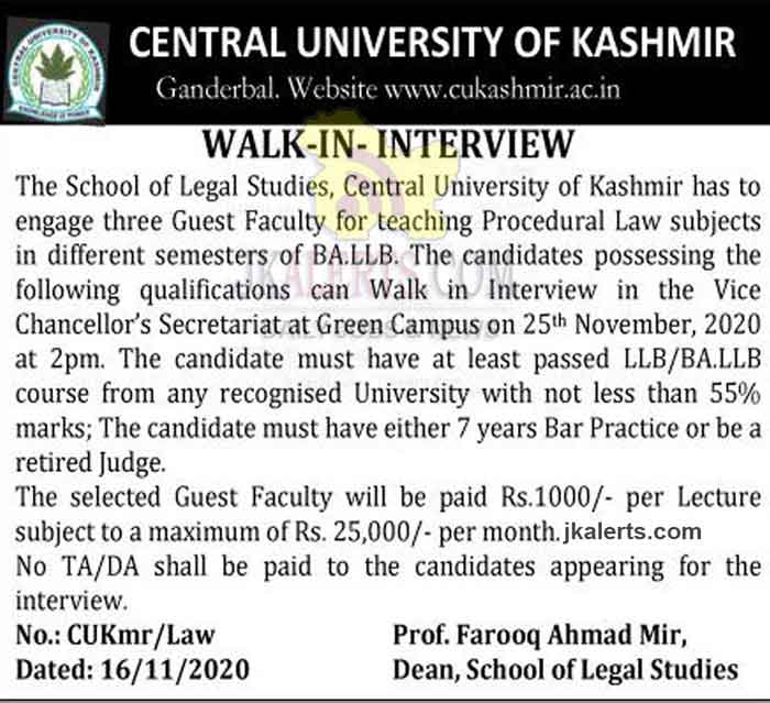 Central university Kashmir Jobs