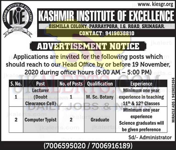 Kashmir Institute of Excellence KIE Srinagar Jobs.