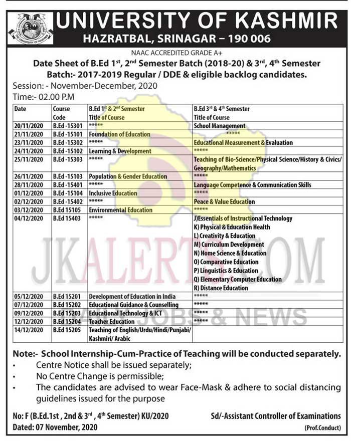 Kashmir University B.Ed Date Sheet.
