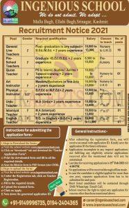 Ingenious School Kashmir Jobs Recruitment 2021.