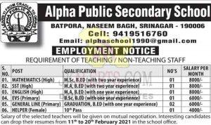 Alpha Public School Srinagar Jobs Recruitment 2021.
