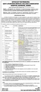 Govt Ayurvedic Medical College Jammu Jobs Recruitment 2021.
