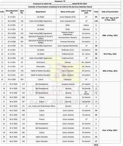 JKSSB Examination dates Calendar 2021.