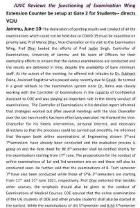Declare Jammu University Pending Result on priority JU VC.