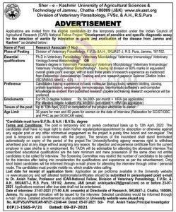 SKUAST Jammu Jobs Research associate posts.