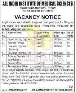 AIIMS Jammu Jobs Recruitment 2021.