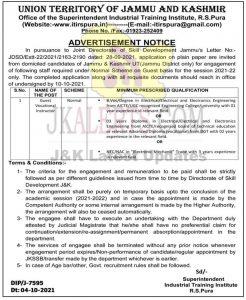 ITI RS Pura Jobs Recruitment 2021.