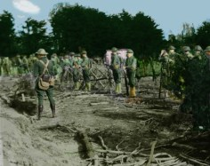 Here is a photo of Marines at Quantico that I tried to colorize. Some of the khaki colored gear, looks neon, and the helmets look like cartoon helmets, I think. They should be very dark green.