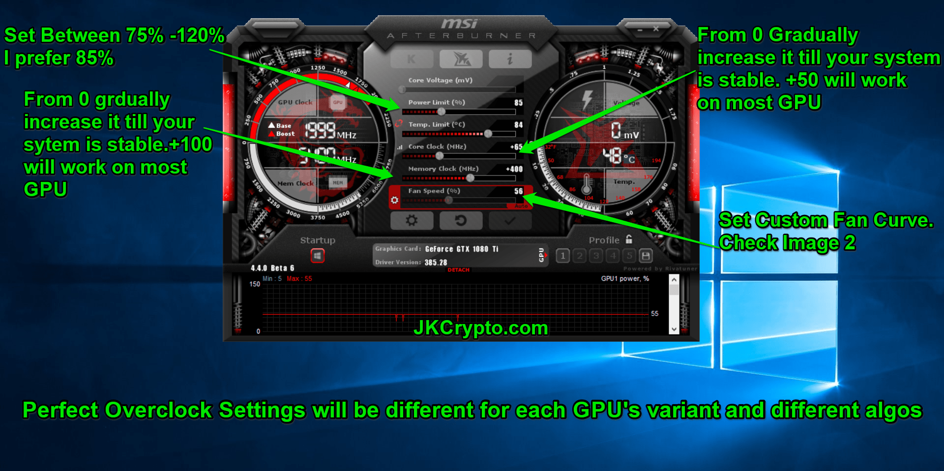 msi afterburner overclock settings