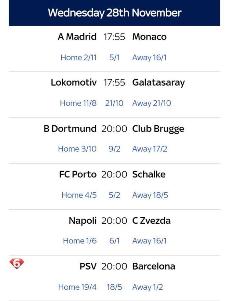 UEFA champions league fixtures, 27th and 28th Nov. 2018 ...
