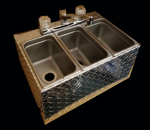 small cart size 3 compartment sink aluminum