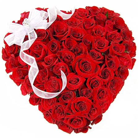 50 Red Roses Heart Shape Arrangement With Big White Bow