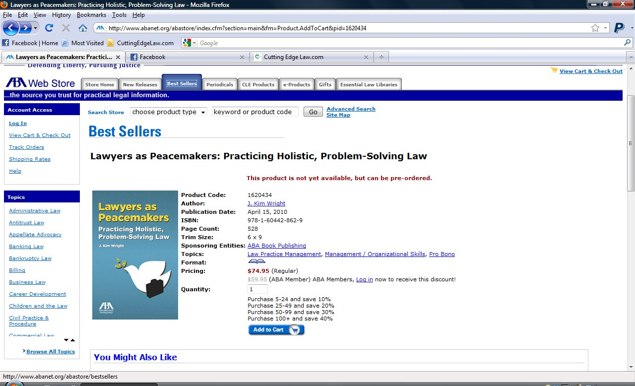 screenshot of aba best sellers while lawyers as peacemakers was in pre