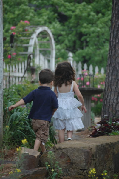 "Heading back to the secret garden along the rock wall. The grandchildren actually call this garden the ""Bunny Bakery"""
